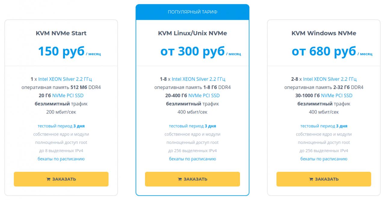 Новые тарифы KVM VPS: Intel XEON Silver 4114